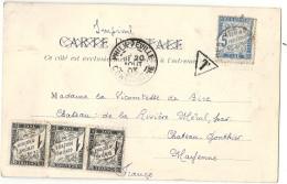 Algérie - Philippeville (CPA De Stora) Pour Le Chateau De La Riviere Merul (Mayenne). Taxe 8c. - Marcofilie (Brieven)