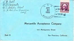 U.S. Navy ASIATIC FLEET SHANGHAI CHINA  U.S.S. AUGUSTA  1938 - Covers & Documents