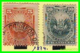 PERÚ  ( AMERICA CENTRAL ) 2  SELLOS  AÑO  1874 - Perú