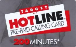 United States, LDDS WorldCom, TARGET HOTLINE PRE-PAID CALLING CARD 200 MINUTES, 2 Scans. - Stati Uniti