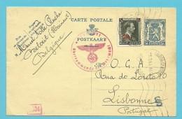571 Op Entier Stempel BELOEIL 29/2/1944 Naar UNDERCOVER OCA LISBONNE  + Censuur / Gepruft - Oorlog 40-45