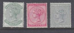 South Africa, Natal, Queen Victoria, 1882-9, 1/2d, 1d, 3d,  MH *, - Afrique Du Sud (...-1961)