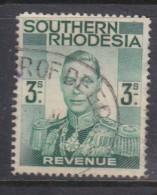 Southern Rhodesia, George VI, 1937 Revenue, 3/= , Used - Southern Rhodesia (...-1964)