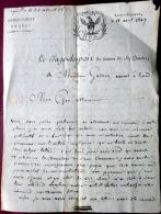 39 SAINT CLAUDE 1807  LETTRE D´EXCUSE  DU JUGE DE PAIX A M GARDAS AVOCAT A LYON CACHET - Manuscrits