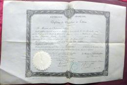 14 CAEN 1883 DIPLOME DE BACHELIER ES LETTRES SUR VELIN CACHET CARTON GAUFRE RAPPORTE - Diploma & School Reports