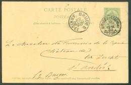 E.P. Carte 5 Centimes Obl. Sc BRUGES (STATION) DEPART Du 15 Octobre 1902 Vers St-André. - 11168 - Entiers Postaux