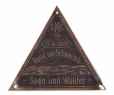 Alte Plakette , S.M.C. , 27.06.1926 , Rund Um Schwerin`s Seen Und Wälder , Motorradrennen , Schwerin I. Mecklenburg !!! - KFZ