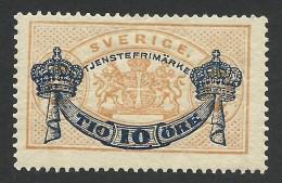 Sweden, 10 O. On 24 O. 1889, Sc # O27, Mi # 13, MH - Servizio