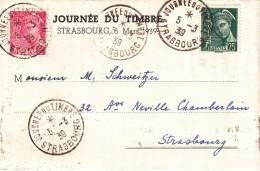 Feuillet Affr Y&T 406 + 411 Obl STRASBOURG JOURNEE DU TIMBRE Du 5.3.39 - Alsace Lorraine