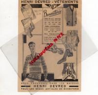 80 - AMIENS - PUBLICITE HENRI DEVRED - 1929-1930  BONNETERIE CHEMISERIE - Publicités