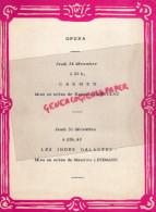 87 - PARIS - PROGRAMME PETIT THEATRE SAINT SULPICE-59 RUE BONAPARTE- 24 DEC- NOEL-OPERA-CARMEN-INDES GALANTES-LEHMANN - Programs