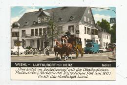 Cp , Automobiles , Camionnette , Attelage , Diligence , Allemagne , WIEHL - LUFTKURORT Mit HERTZ - Camion, Tir