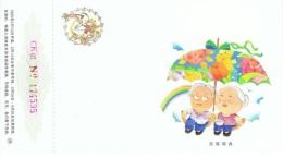 FLORA-L308 - CHINE Entier Postal Carte Année Du Cochon Illustrée Couple, Parapluie Avec Fleurs - 1949 - ... République Populaire