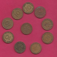 GERMANY, 1950, 10 Off Nicely Circulated Coins 10 Pfennig, C3223 - [ 7] 1949-… : FRG - Fed. Rep. Germany
