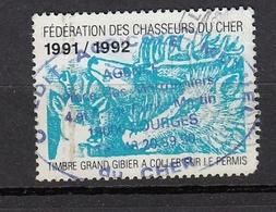 FISCAL PERMIS DE CHASSE TIMBRE GRAND GIBIER  1991-1992 FEDERATION DU CHER HUNTING REVENUE - Fiscaux
