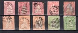 SUISSE : RAPPENS . 15 , 20 ET 40 RP . 10 EX . ETATS DIVERS . 1854/62 . - Used Stamps