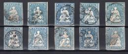 SUISSE : RAPPENS . 10 RP . 10 EX . ETATS DIVERS DONT B . 1854/62 . - Used Stamps