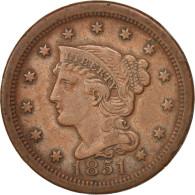 États-Unis, Braided Hair Cent, 1851, U.S. Mint, Philadelphia, TTB, KM:67 - Federal Issues