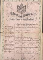 Bayern Reisepass Ins Ausland 1864 Dabei Viele Polizeivermerke Und Visum Russland Russia - Historische Dokumente