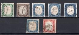 SARDAIGNE : 7 EX . OBL . AB .1855/61 . - Sardegna