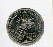 CENTENAIRE DE LA MORT D'ANTERO DE QUENTAL (1842- 1891) - ECRIVAIN - 100 ESCUDOS REF 46  - COTE IPCcoins: 9€ - Açores