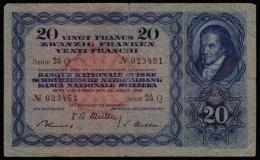 Switzerland 20 Francs 1949 P.39q F- - Switzerland
