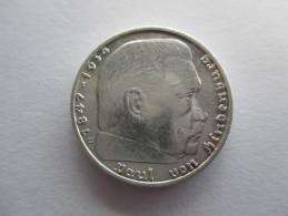 Germany, 2 Reichsmark, 1936 E !!! Zeldzaam Hindenburg - 2 Reichsmark