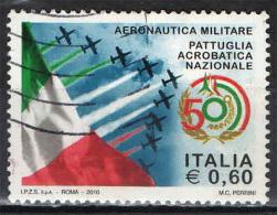ITALIA - 2010 - AERONAUTICA MILITARE: PATTUGLIA ACROBAICA - FRECCE TRICOLORI - CINQUANTENARIO - USATO - 6. 1946-.. Repubblica