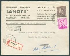 BIER BEER BIER - Belgium Lettre Recommandée (en-tête BROUWERIJEN - BRASSERIES LAMOT) Affr. Poortman/Marchand à 13 Francs - Bières