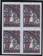FRANCE 1963 Un Bloc De Quatre (4) YT N° 1399** - Oeuvres D´Art Les Marchands De Fourrure Vitrail Cathédrale De Chartres - Frankrijk