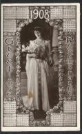 Postcard With 1908 Year Calendar - Cartolina Con Calendario Del 1908 - Formato Piccolo : 1901-20