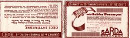Carnet Vide Avec Publicité Montres Sarda, Besançon  (quelques Bandes Pub, Non Collés)   2 Scans - Carnets