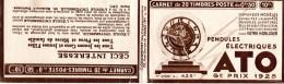 Carnet Vide Avec Publicité Pendules ATO 1925  (quelques Bandes Pub, Non Collés)   2 Scans - Carnets