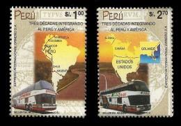 E)200O PERU, ORMEÑO, BUS AND MAP OF SOUTH AMERICA AND NORTH AMERICA,  30TH ANNIV. 1266 A583 PAIR, MNH - Peru