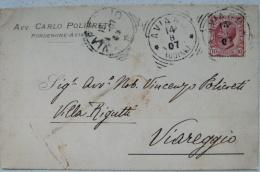 PORDENONE AVIANO - AVV. CARLO POLICRETI (PUBBLICITARIA) 1907 - CARTOLINA DI 109 ANNI!!! X VIAREGGIO - Pordenone