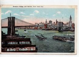 CPA.1922.Etats-Unis.New York City.Brooklyn Bridge And Skyline.animée Bateaux. - Ponts & Tunnels