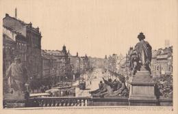 """PRAGUE :  """" Vaclavské Namesti """"  Place St Wencelas . Ecrite En Espéranto - Tchéquie"""