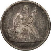 États-Unis, Seated Liberty Dime, 1838, New Orleans, TB+, KM:61 - Federal Issues