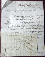 63 CLERMONT FERRAND AMBERT  LETTRE DE RECLAMATION AVEC CACHET 1829 ET TAMPON CLERMONT FERRAND - Marcophilie (Lettres)