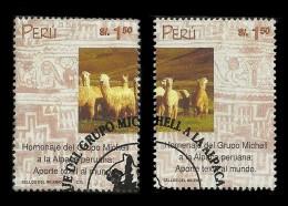 E)2000 PERU, ALPACA WOOL INDUSTRY, ANIMAL, 1252 A571, PAIR OF 2,CTO,  MNH - Peru
