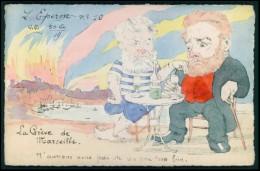 L´Eperon Pernod Ricard Camille Pelletan Rivelli Greve Marseille Satirique Caricature Politique France Carte Postale 1904 - Satiriques