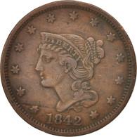 États-Unis, Braided Hair Cent, 1842, U.S. Mint, Philadelphia, TTB, KM:67 - Emissioni Federali