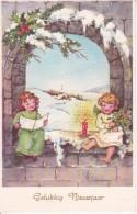 AK Gelukkig Nieuwjaar - Engel Mit Kerze Und Blumen (23419) - Nouvel An