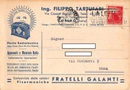 "05718  ""TORINO - ING. FILIPPO TARTUFARI - PERITO RADIOTECNICO"" CARTOLINA COMM. INTESTATA, SPEDITA 1946 - Commercio"