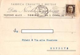 """05719  """"TORINO - FABBRICA CRAVATTE E BRETELLE - DITTA NICOLA ZAPPINO"""" CARTOLINA COMM. INTESTATA, SPEDITA 1940 - Commercio"""
