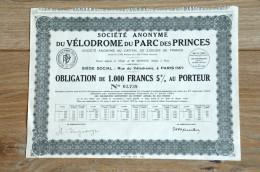 Share Aandeel Obligation Action 1932 Parc Des Princes Velodrome Paris - Sport