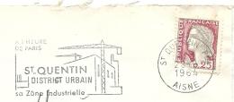 SECAP RARE: St QUENTIN (AISNE). Durée Quelques Jours. 1964. VOIR DESCRIPTIF - Marcophilie (Lettres)