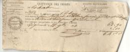 Aisne - Guignicourt , Arrondissement De Laon - Quittance Des Droits Sur Les Herbes. Recette Du 4e Trimestre 1851 - Marcophilie (Lettres)