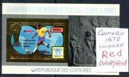 Soccer WC 1978 Comoro Red Over. Imperf SS Gold MNH***XVF Football Non Dentele Space Map Comores Komoren - World Cup