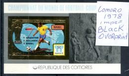 Soccer WC 1978 Comoro Black Over. Imperf SS Gold MNH***XVF Football Non Dentele Space Map Comores Komoren - Celebrations